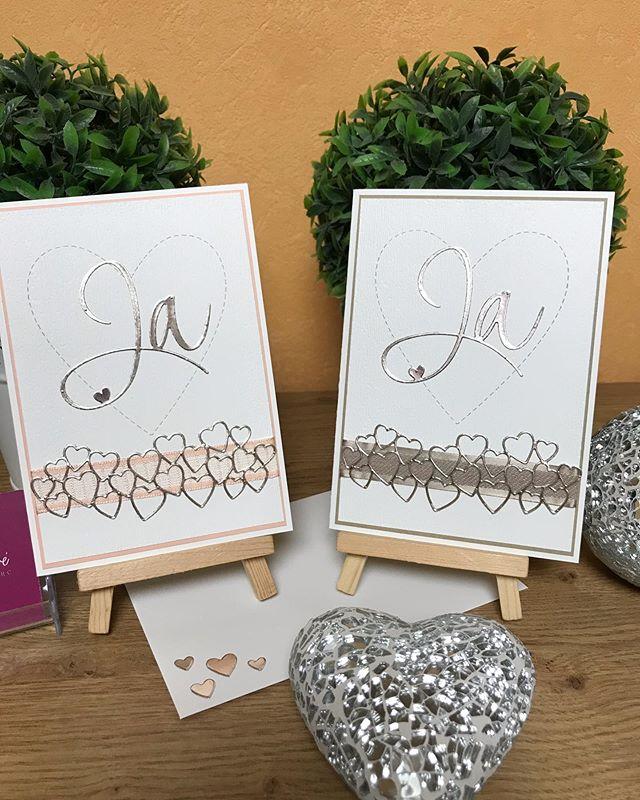 Diese Woche sind auch diese wunderschönen Karten zur Hochzeit fertig geworden. Manchmal braucht es nicht viel um schön auszusehen.  #julamé #kartezurhochzeit #stampinup #rayher #einfachundedel #stempelnistmeineleidenschaft #inspirecreateshare